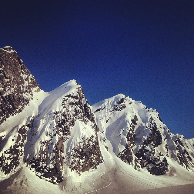 Today's playground! Everyone slayed it! #snowboarding #alaska #goodtimes #goodsnow