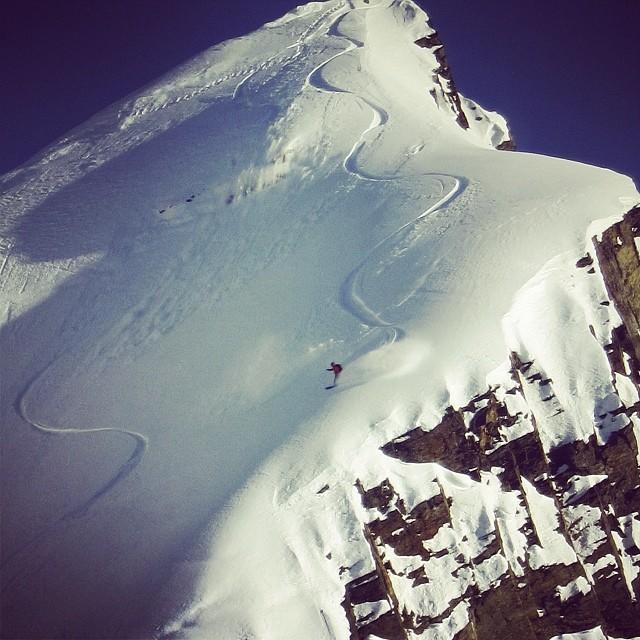 @nicholaswolken aka Billy Goat enjoying some premium pow up in  AK. #snowboarding #powder #zebra #spork