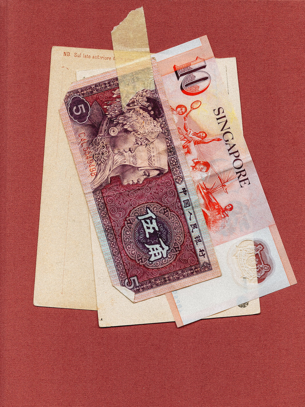 china five jiao + ten singapore dollar - May, 2016.