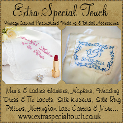 Extra Special Touch  - Our online boutique offers a range of custom handmade wedding gifts and personalised wedding items. We createbespoke bridal garters, hankies and other accessories that can match your wedding colour palette.