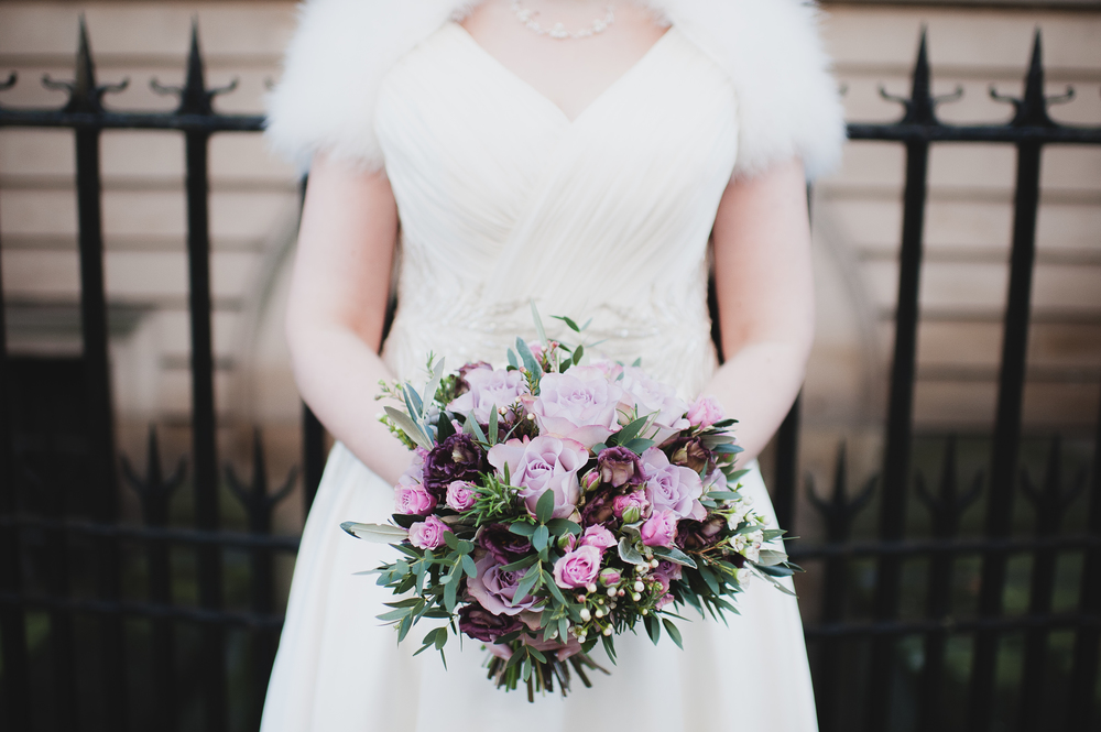 winter bride with flowers