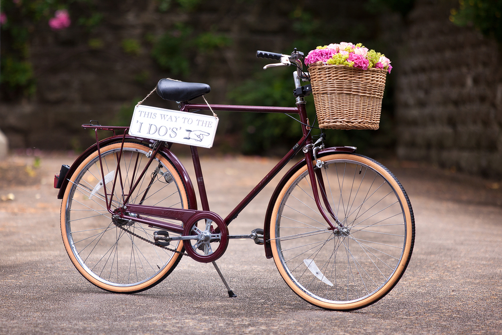 vintage wedding bike