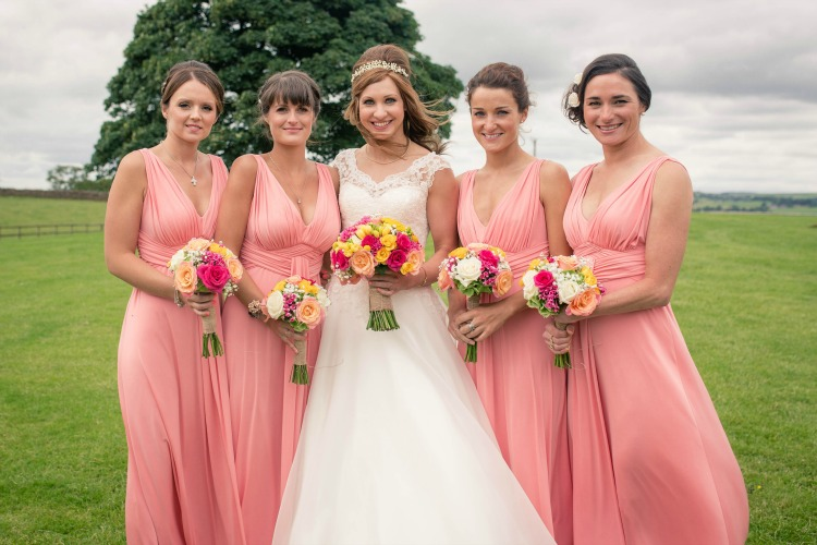 Joanna Rowsell and Daniel Shand Heaton House Farm Wedding bridesmaids pink dresses.jpg