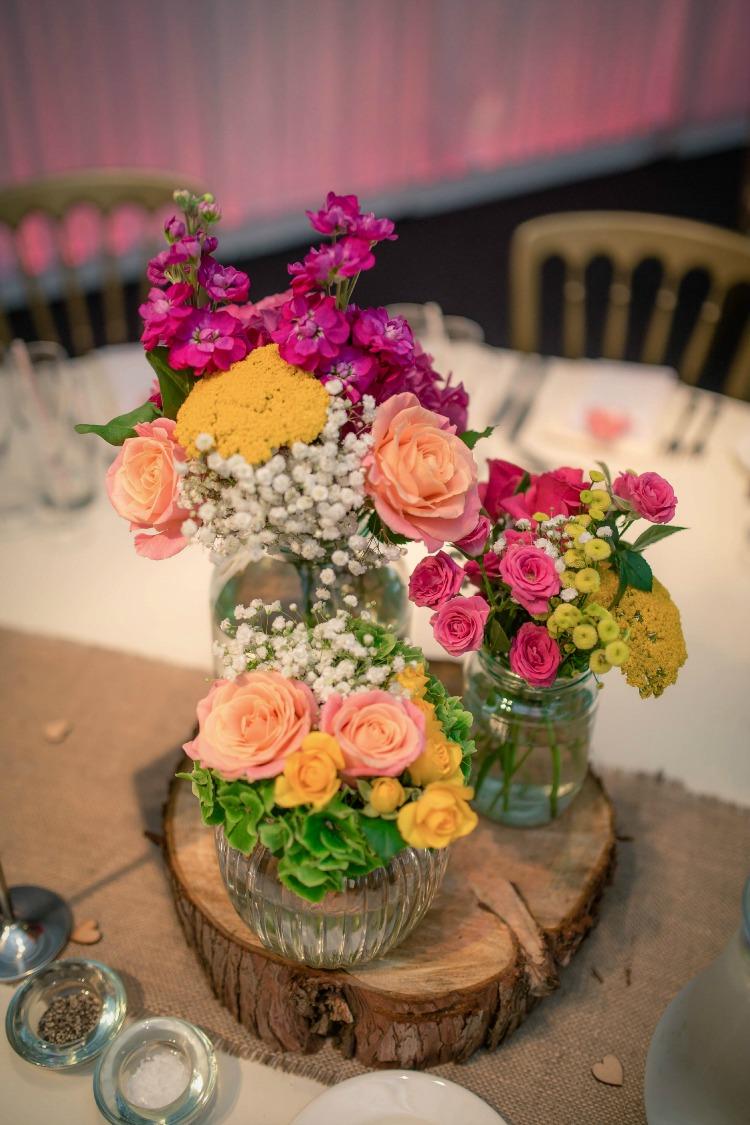 Joanna Rowsell and Daniel Shand Heaton House Farm Wedding centre pieces.jpg