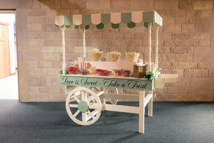 sweet cart Joanna Rowsell and Daniel Shand Heaton House Farm Wedding.jpg