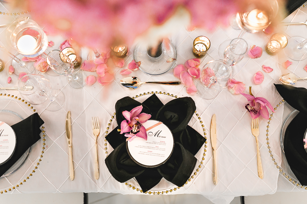 Contemporary-London-wedding-black-pink-gold