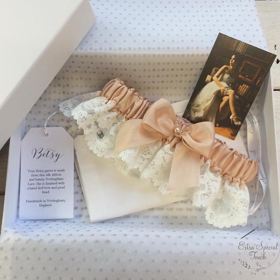 Handmade bridal garter