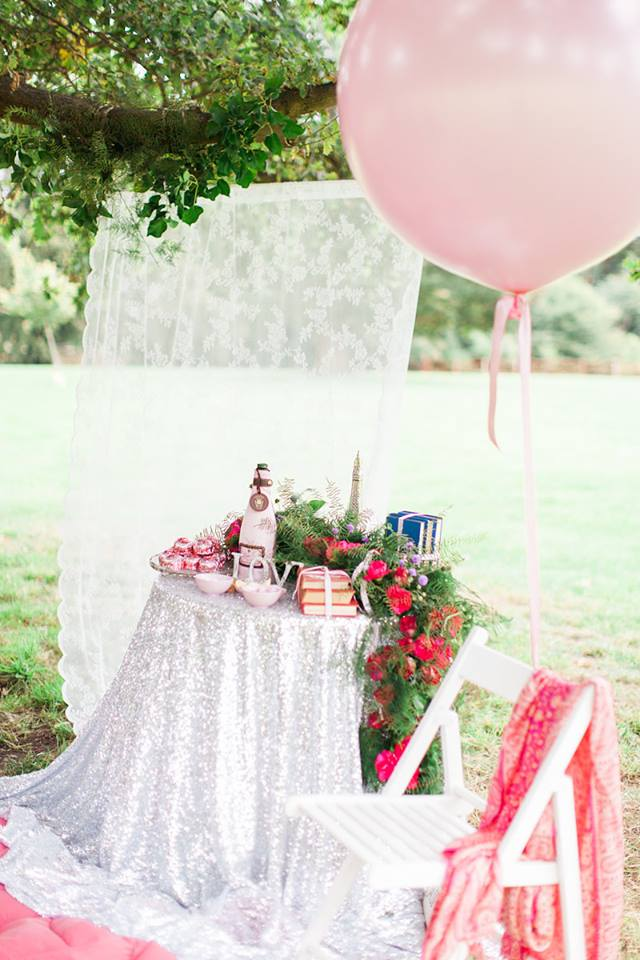 Pink outdoor wedding styling