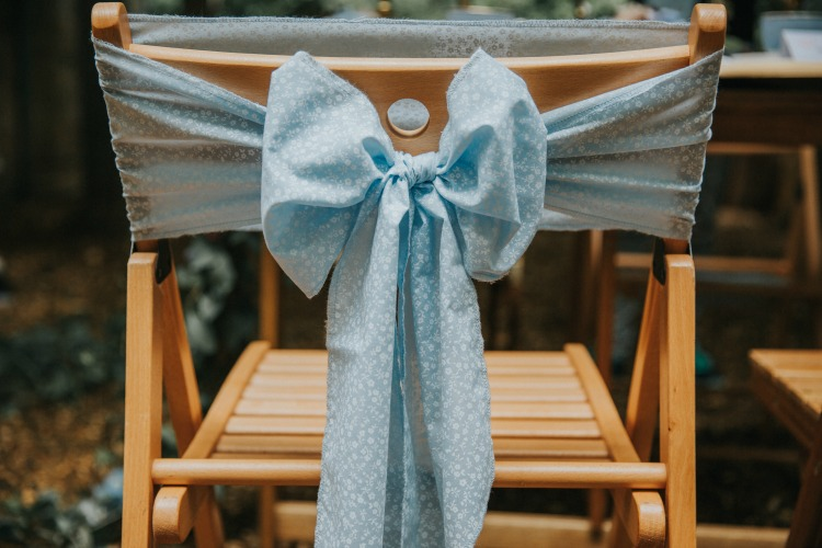 Alice in Wonderland wedding blue chair back ribbons.jpg