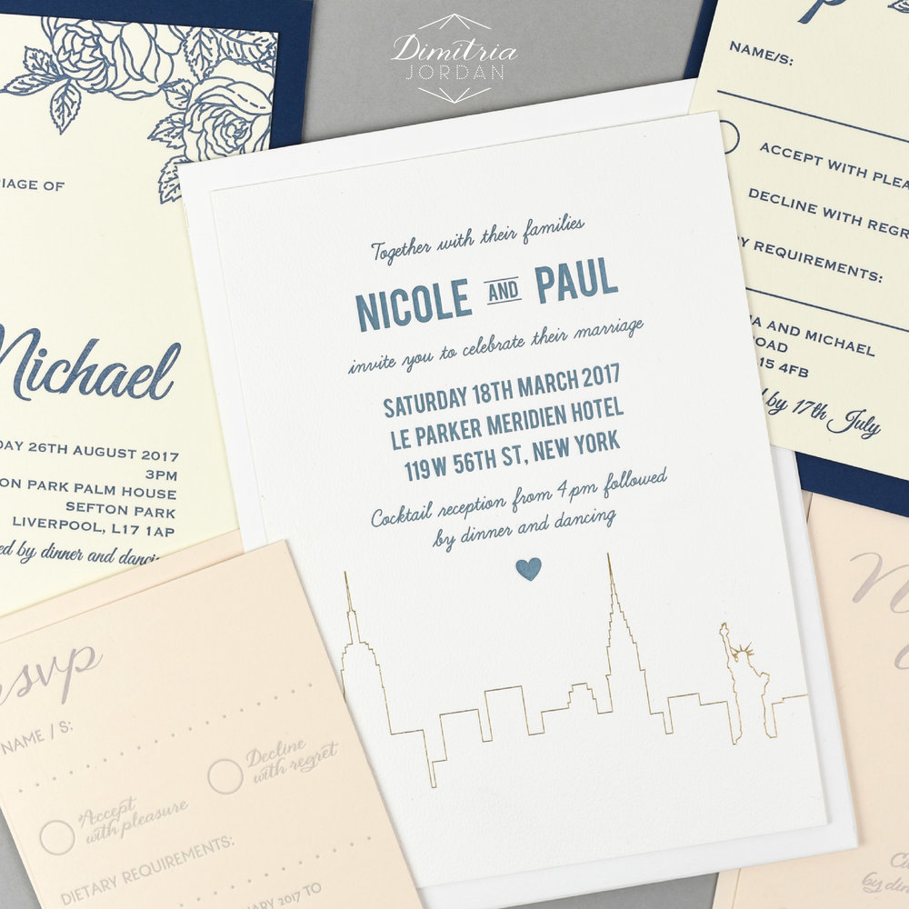 Dimitria Jordan provides couples with stunning 'ready-to-order' wedding stationery collections as well as a bespoke design service with letterpress and foiling options available. Dimitria works personally with each couple and ensures the whole process is stress-free and enjoyable.