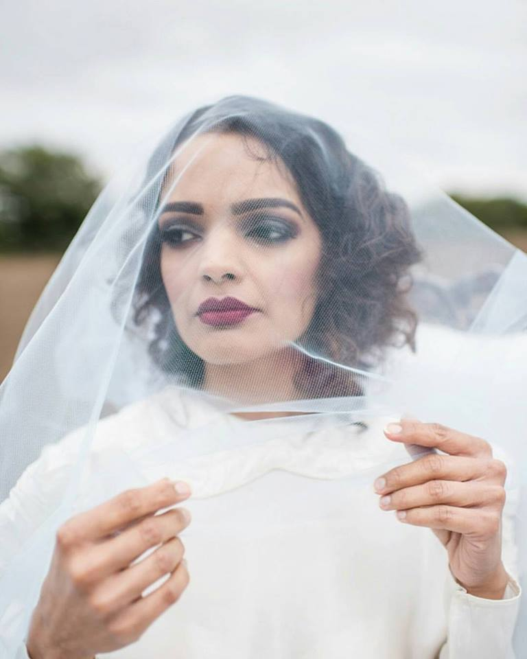 | Blue veil from  Bespoke Vintage Castle  |  Jane Beadnell Photography  |  Gypsy. Rose Salon  |  Julia Jeckell Hair and Make-up Artist  |  Sanctuary Flowers  |  Lucy Smith  |