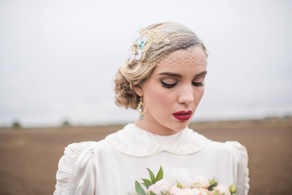 | Bandeau veil from  Bespoke Vintage Castle  |  Jane Beadnell Photography  |  Gypsy. Rose Salon  |  Julia Jeckell Hair and Make-up Artist  |  Sanctuary Flowers  |  Lucy Smith  |