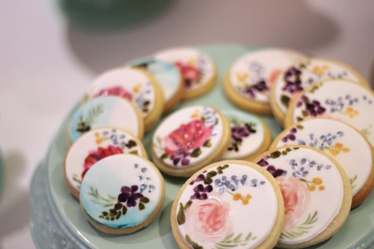 The Sugared Rose blue peach and red floral wedding cookies.JPG