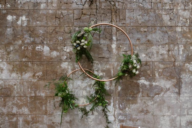 Agnes Black Liverpool wedding photographer wedding decor metal hoops with foliage.jpg