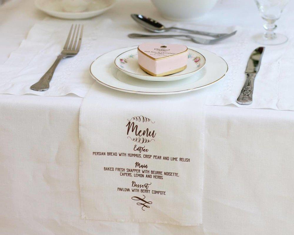 Personalised printed napkins menu wedding.jpg