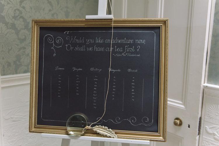 Alice in wonderland wedding table seating plan.JPG