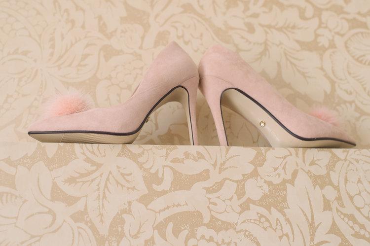 Pink pom pom wedding shoes.JPG