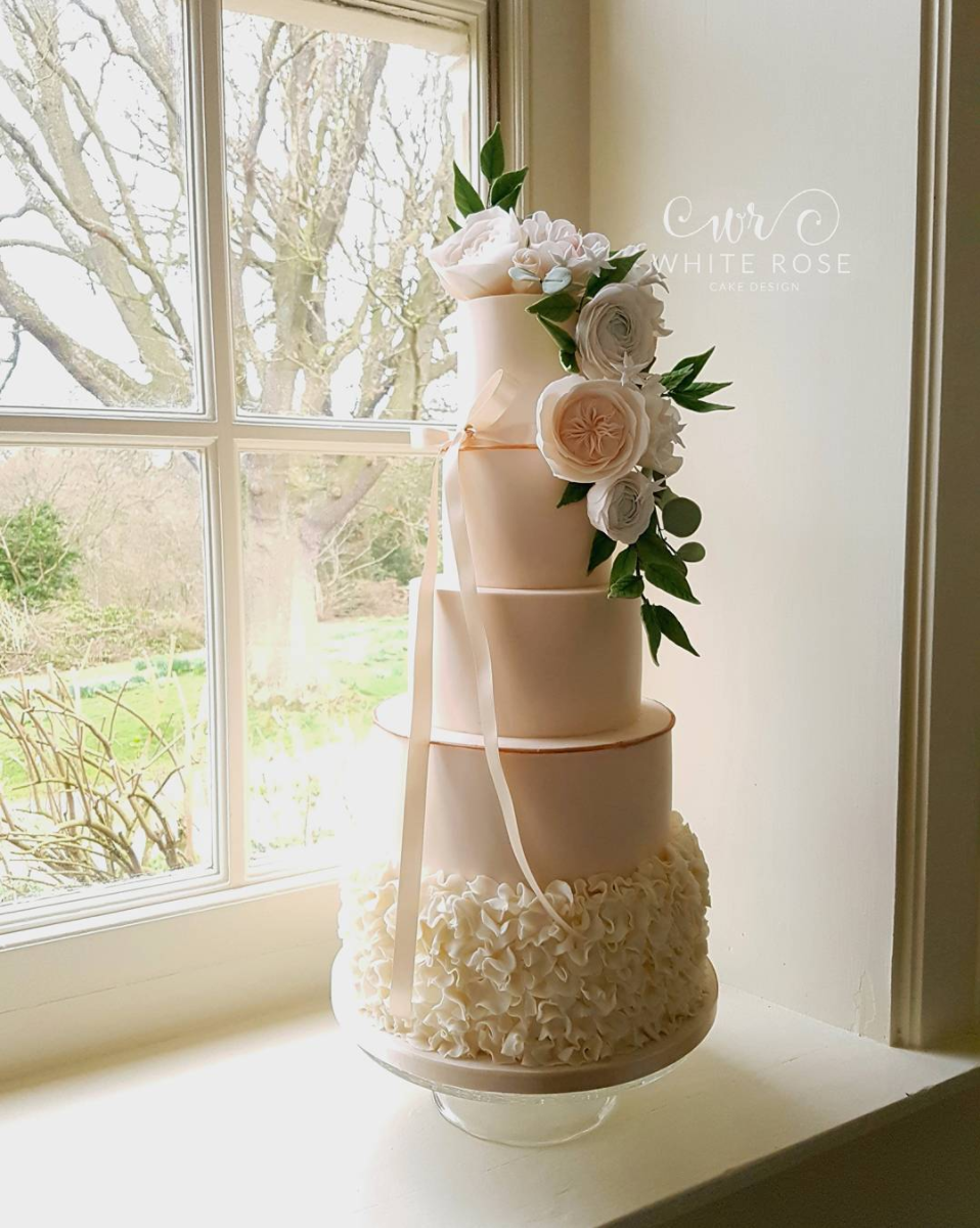 Ruffled Blush Wedding Cake By  White Rose Cake Design