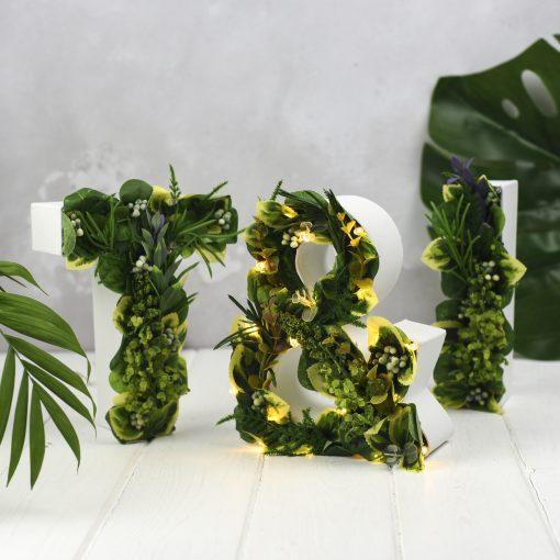 Handmade Greenery Letters - The White Bulb