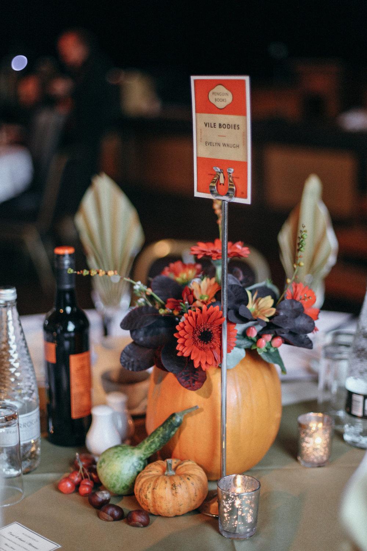 Halloween Pumpkin Wedding Centrepiece