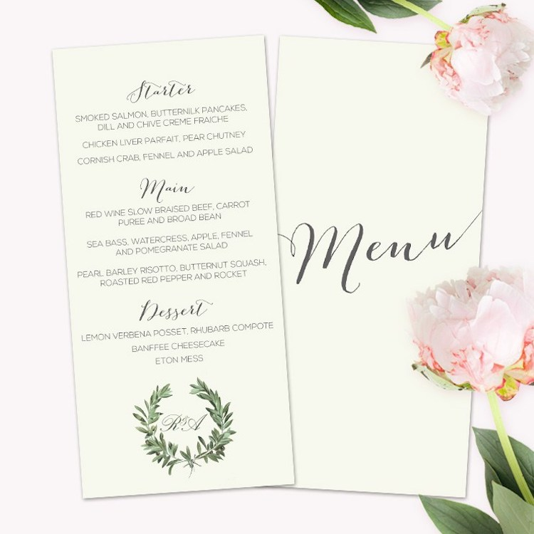 Menu Stationery by  Adele Wedding Stationery