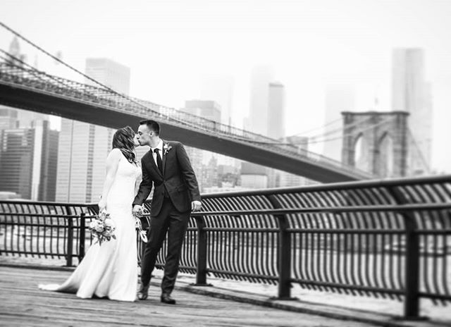 There can never be too many kisses on your wedding day! #brooklynbridgepark #brooklynbridge #dumbo #janescarousel #skyline #weddingphotographer #wedding #weddingplannernyc #elopement #newyorkelopement #newyork #weddinginspo #elopementplanner #newyorkdreamweddings #harleyhall #elopenyc #lighting #newyork #elope #creative #weddings #nywedding #harleyhallphotography  #instawedding #pix11news #huffpostido #huffpostweddings