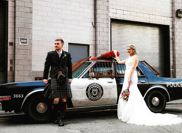Michelle and Martin looking cool as ever in front of a Mad Max style cop car we just happened to stumble upon! You never know what you'll find walking around the streets of NYC! #copcar #brooklynbridgepark #brooklynbridge #dumbo #weddingphotographer #wedding #weddingplannernyc #elopement #newyorkelopement #newyork #weddinginspo #newyorkdreamweddings #harleyhall #elopenyc #lighting #newyork #elope #creative #weddings #nywedding #harleyhallphotography #instawedding #weddingportrait #pix11news #huffpostido