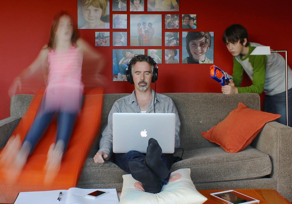 My three kids: Ruby, Jack and Collagewall behind me.