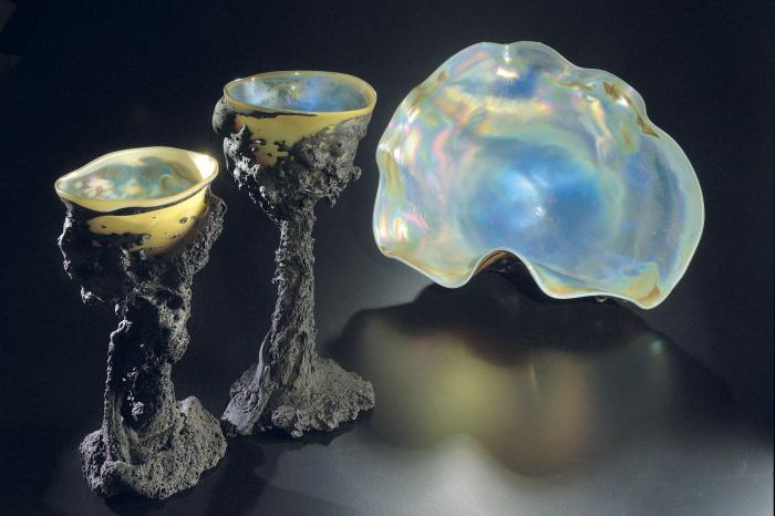 A pair of Tektite Goblets and an Iridescent Tektite Sculpture