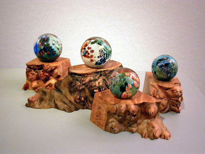 Planets on Burl Wood Stands