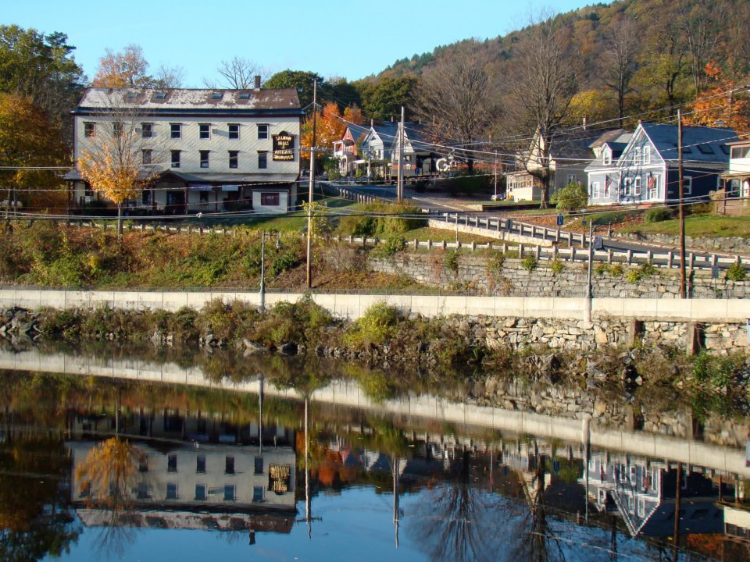 Salmon Falls Gallery building,  as viewed from the Iron Bridge in Shelburne Falls, Massachusetts.