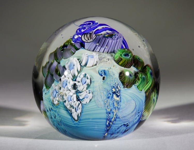 Inhabited Planet Paperweights 3""