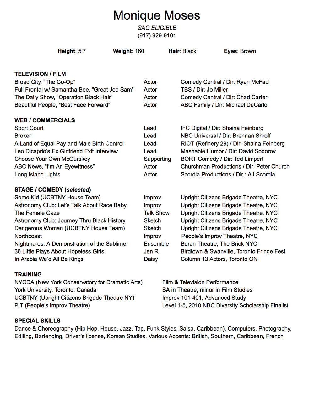 Monique Moses Resume | click to enlarge |  click to download