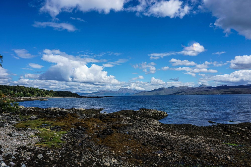 View from Skye across the sea to Mallaig