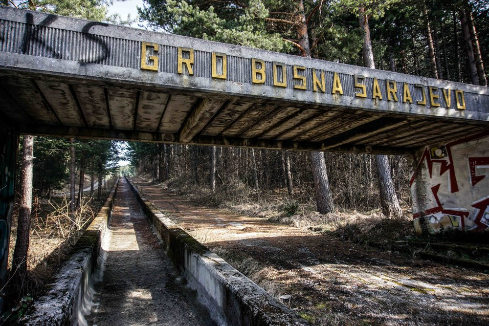 Abandoned boblsed course from 1984 Olympics