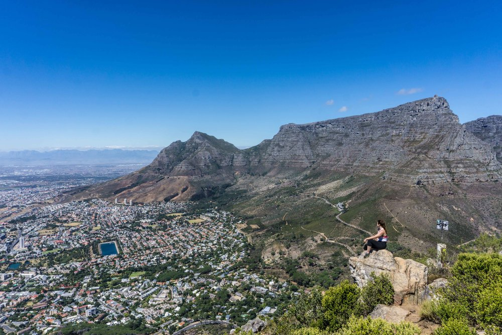 Top of Lion's Head - view of Table Mountain