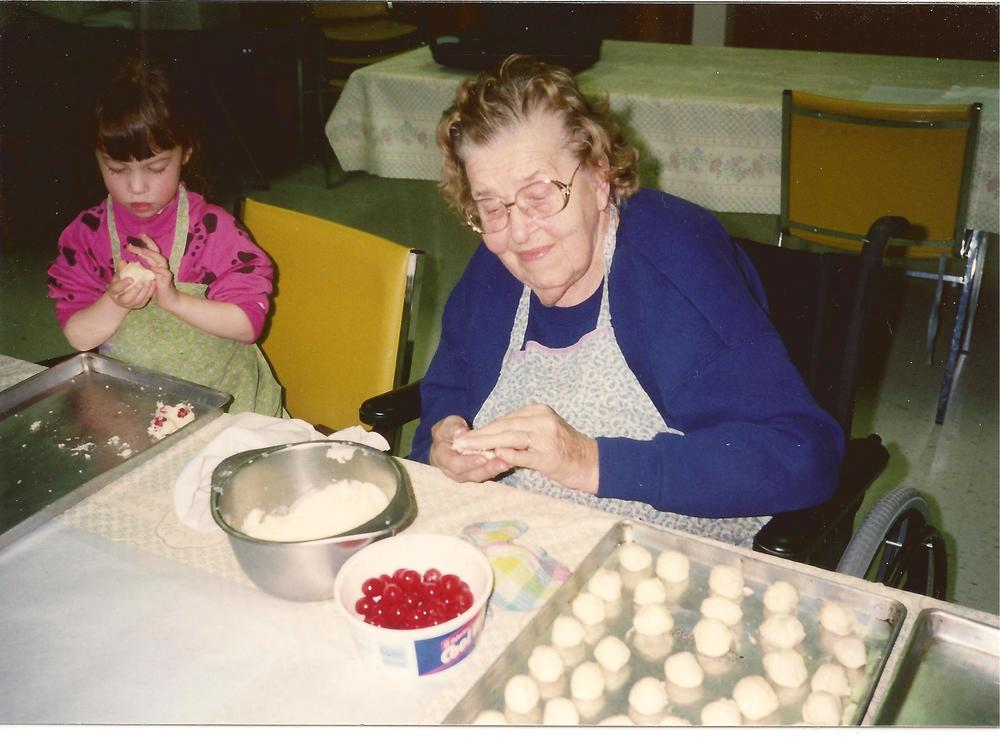 As a youngster, making chocolate covered cherries with my great grandma