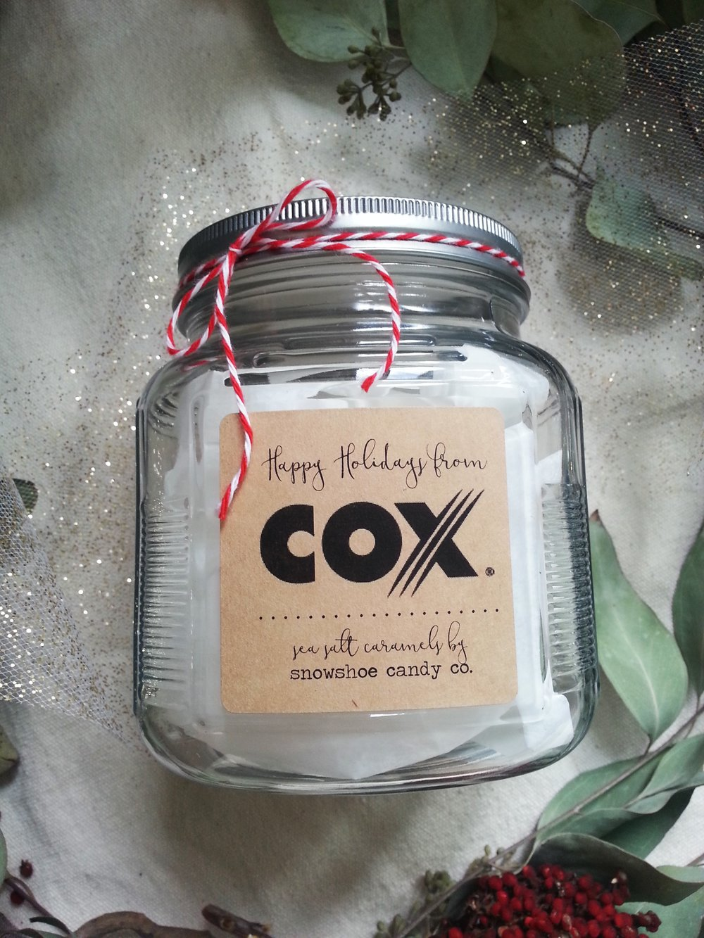 Featured sample of customized gift jars for Cox Business holiday gift items for their corporate clients.