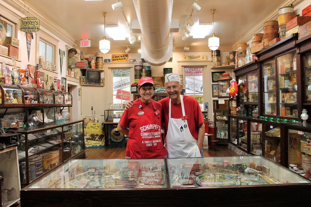 Jill and Warren Schimpff of Schimpff's Confectionery in Jeffersonville, Indiana - in their personal collection candy museum