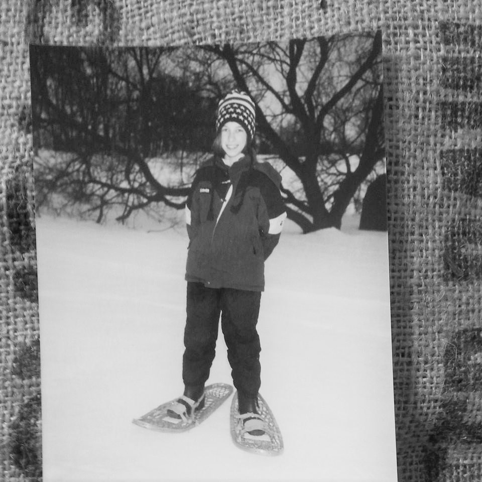 Young Ali with snowshoes in Wisconsin!