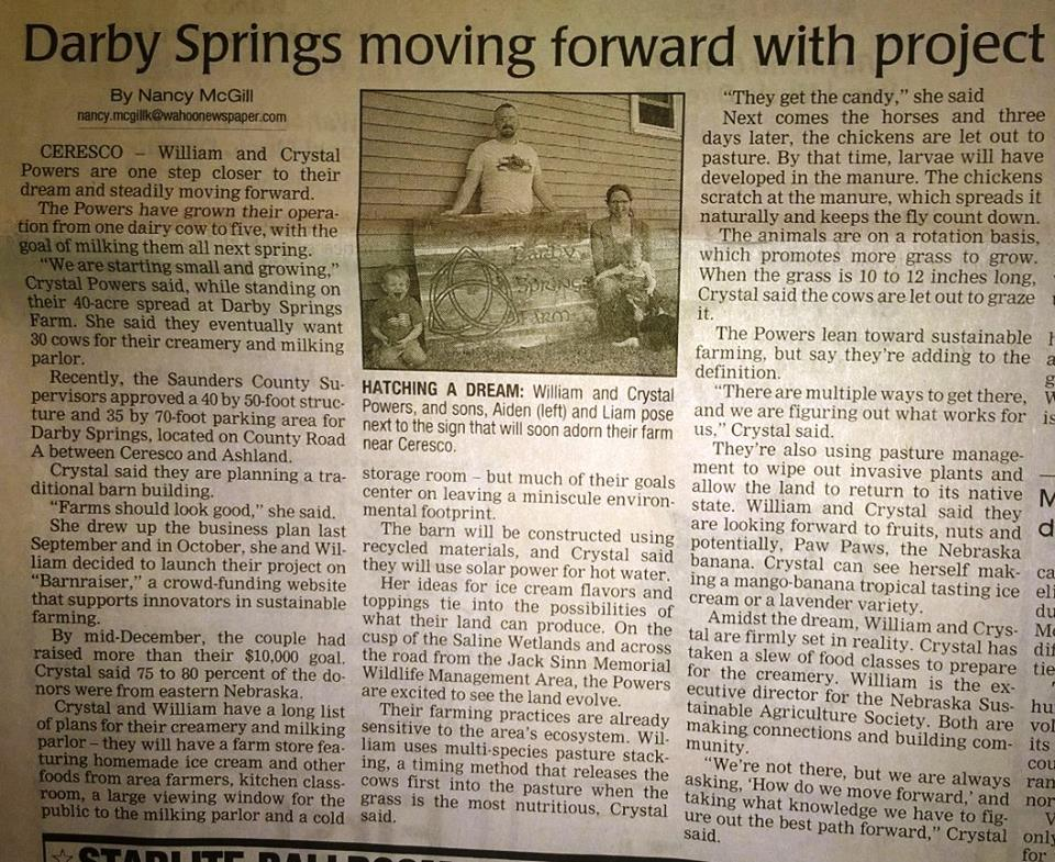 William and Crystal, featured in the local Wahoo Newspaper for pursuing their dream - talk about good news!