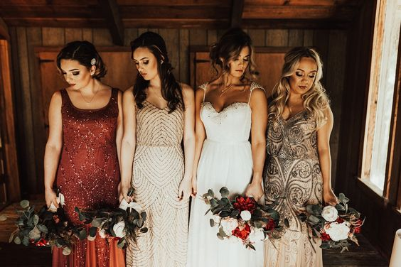 Dresses! - When I see different colored Bridesmaids dresses its so fun see the colors tie together and getting to see a little bit of each Bridesmaids personalities.
