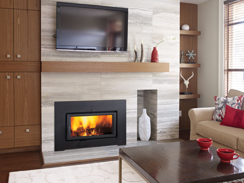 Regency Wood Burning Traditional Styled and Contemporary Flush-Faced Styled Inserts can be inserted into existing fireplaces.