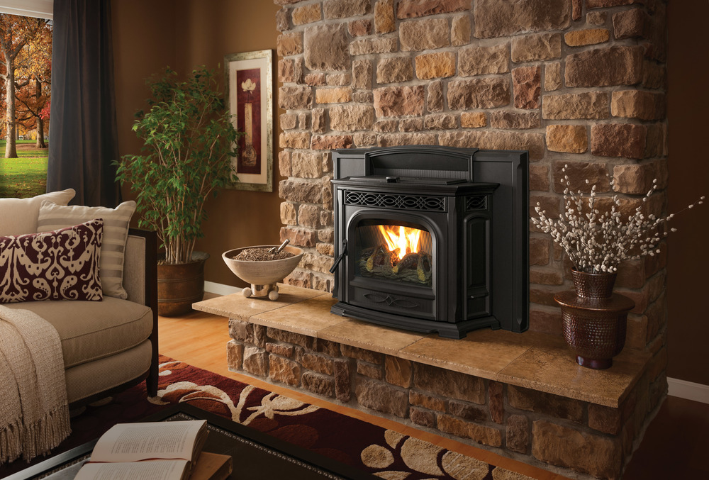 Pellet Inserts are Traditional Styled Pellet Burning units that go into existing masonry or zero-clearance fireplaces.