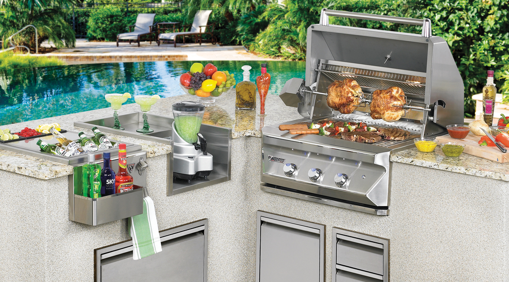 Freestanding and Built-In Gas, Pellet, and Charcoal Fueled Barbecues.