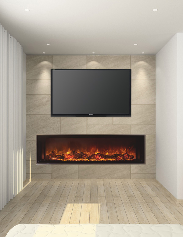 Modern Flames has electric inserts, fireplaces, and wall-hanging units.