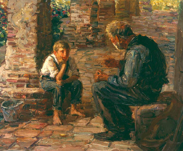 The Story Teller   / Oil on Canvas, 18 x 22 in. / Private Collection