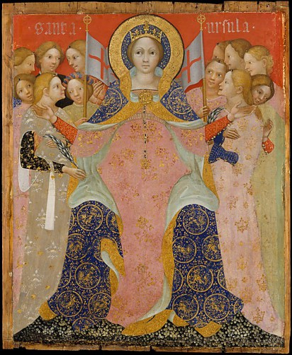 "Niccolo di Pietro, Saint Ursula and Her Maidens, ca. 1410, Tempera and gold on wood, 37"" x 31"""