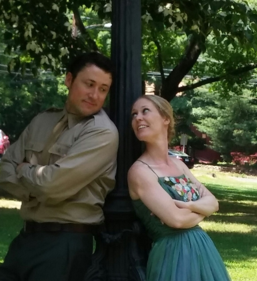As Benedick in <i>Much Ado About Nothing</i>, Valley Shakespeare Festival, with Megan Emory Gaffney as Beatrice