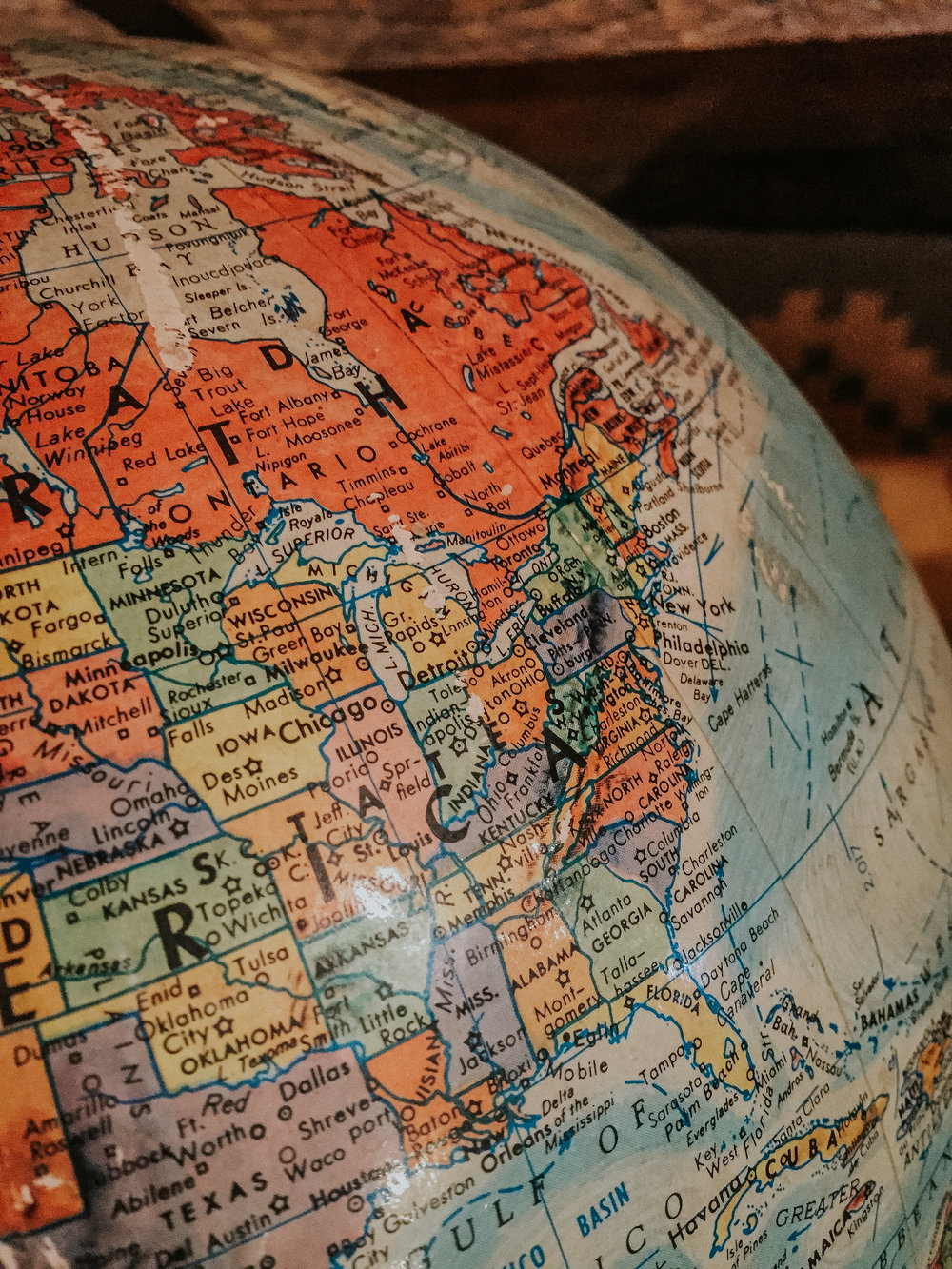 We walked around an antique shop today and looking at this old rusty globe put in perspective how far we've gone these past couple of weeks. Lincoln, NH